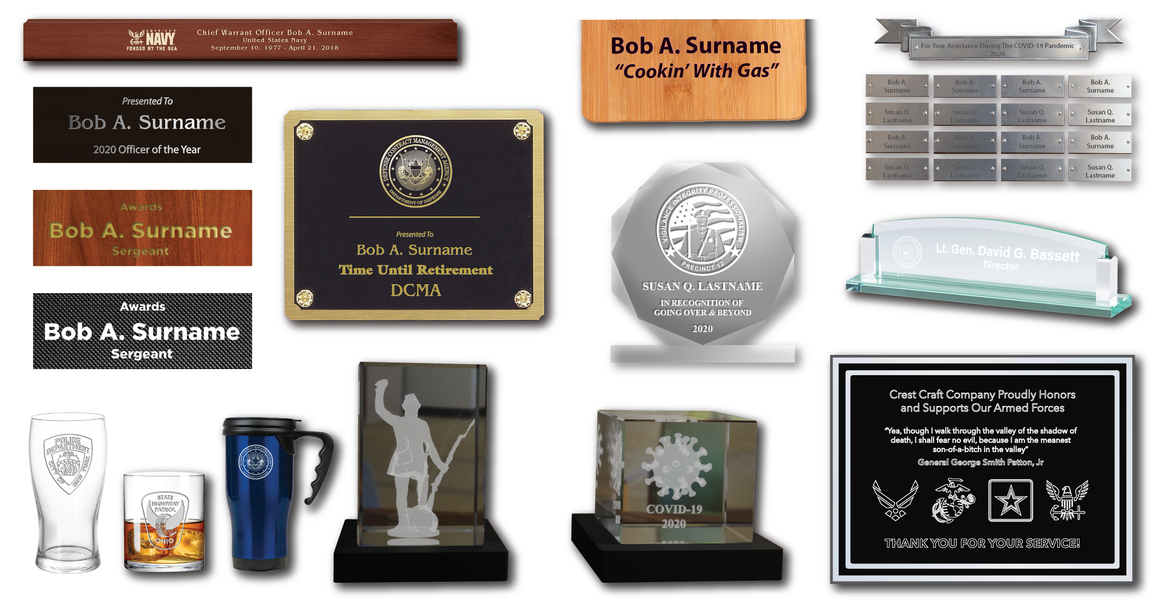 Laser and Rotary Engraved Product Examples by Crest Craft