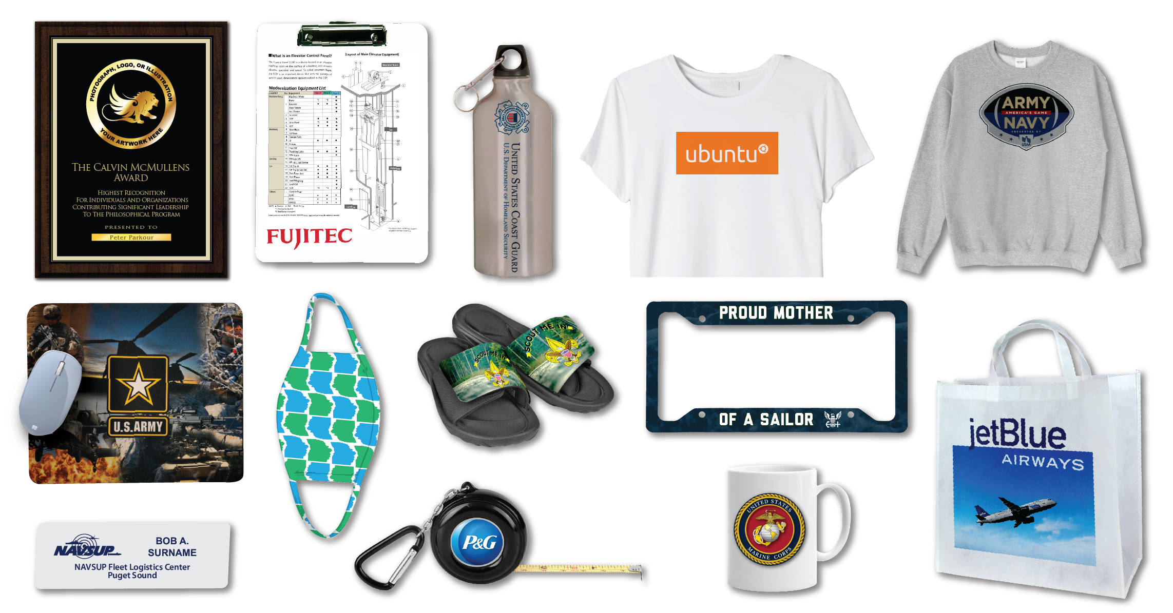 Product examples for image transfer manufacturing